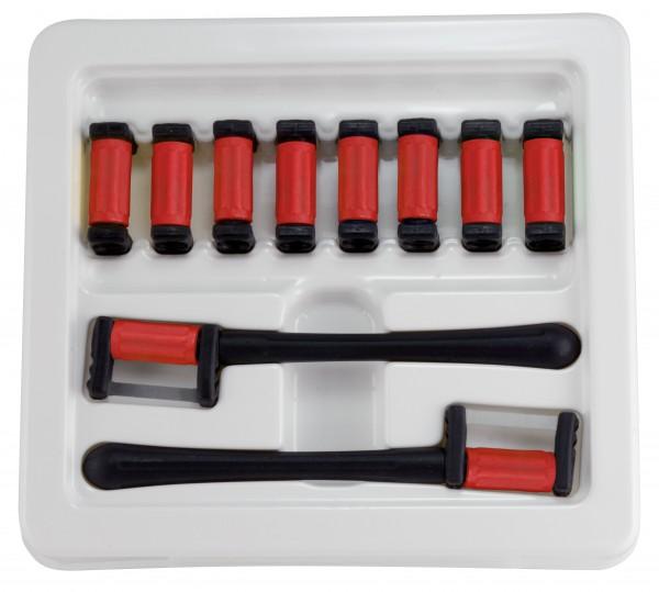 FitStrip doppelseitige Streifen, 10 Streifen, 2 Griffe, feine Körnung, 30 Micron / 0,15mm